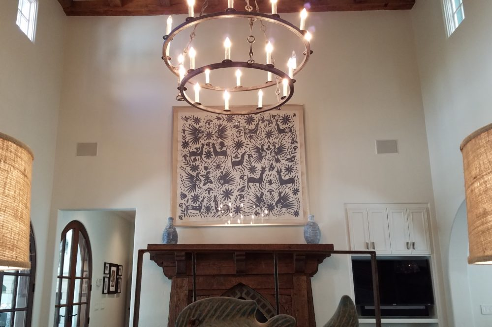 fireplace art in Dallas home